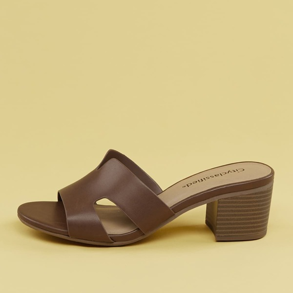 Side Cut Outs Low Chunky Heel Sandals, Brown
