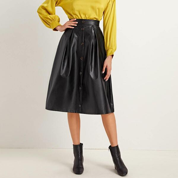 Button Front Faux Leather Midi Skirt, Black