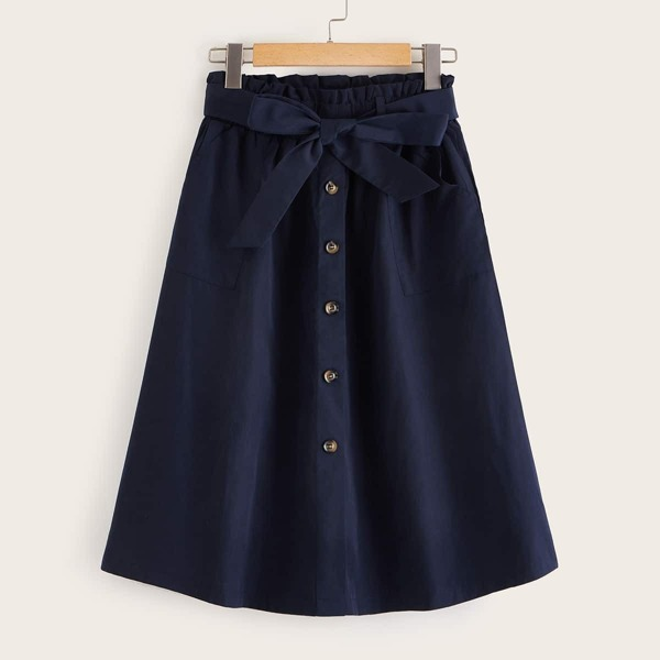 Paperbag Waist Button Front Belted Skirt, Navy