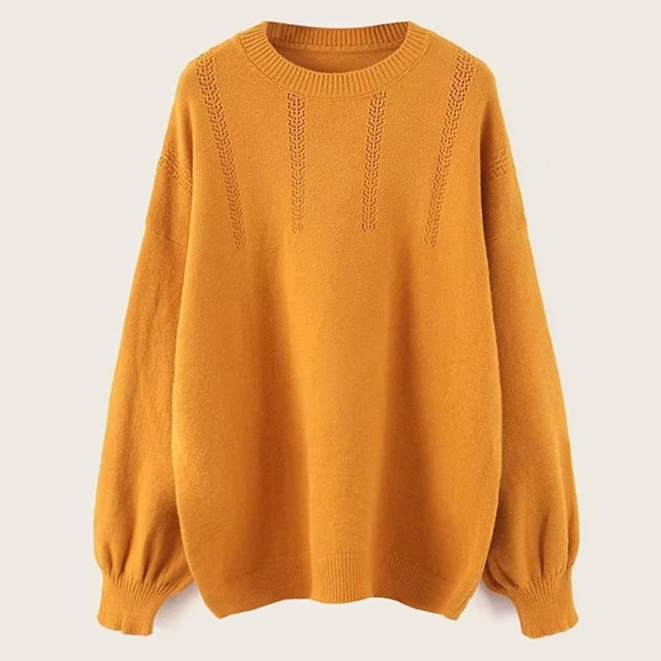 Solid Round Neck Drop Shoulder Sweater