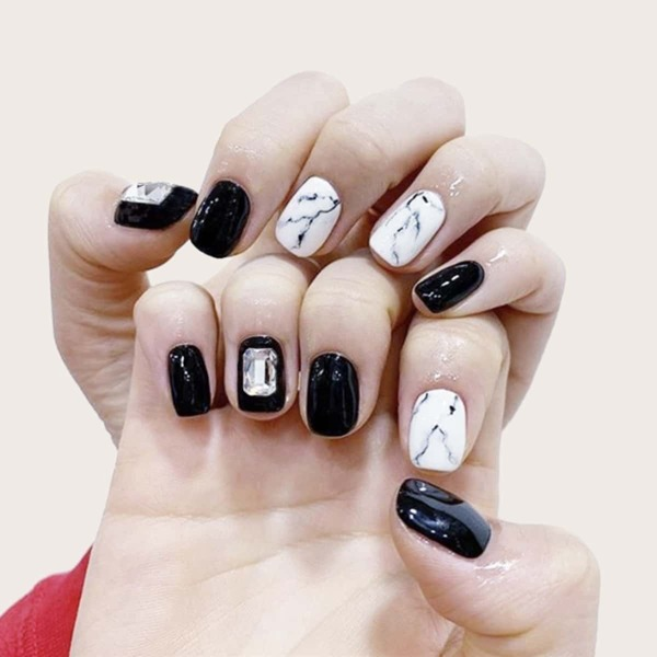 Marble Pattern Fake Nail 24pcs & Tape