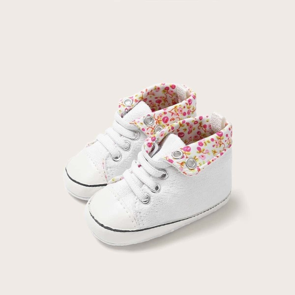Baby Girls Floral Print High Top Sneakers, White