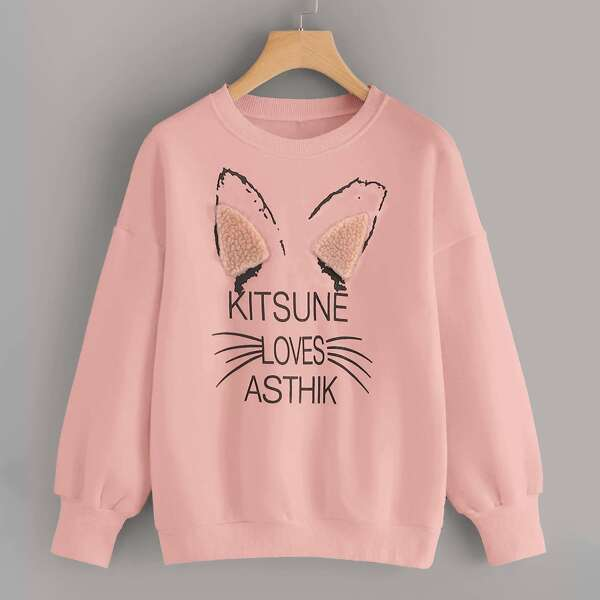 Letter Graphic Drop Shoulder Sweatshirt, Pink