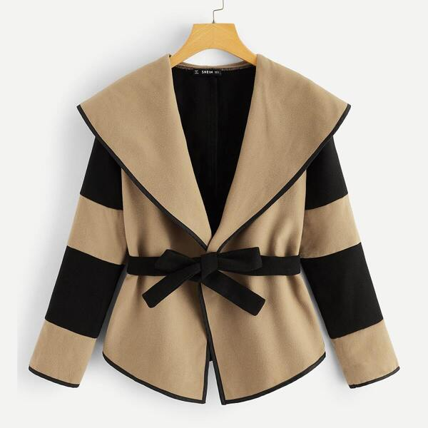 Plus Waterfall Collar Two Tone Self Belted Coat, Multicolor