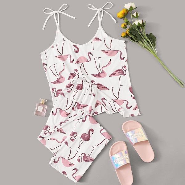 Random Flamingo Print Cami PJ Set, White
