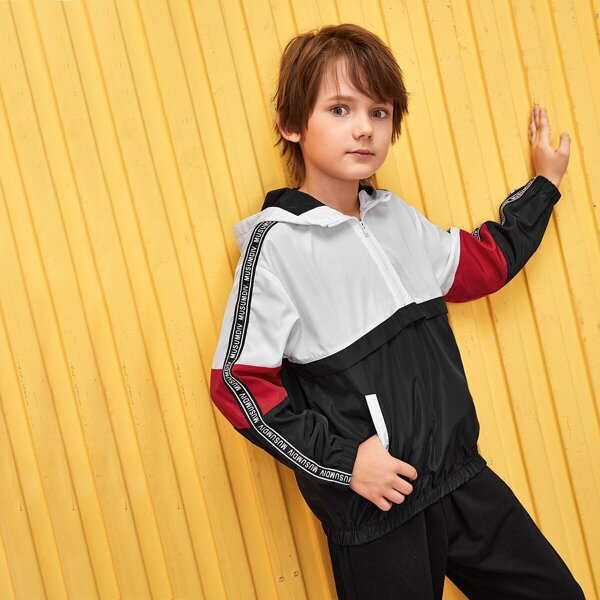 Boys Letter Tape Side Zip Half Placket Hooded Jacket, Black and white