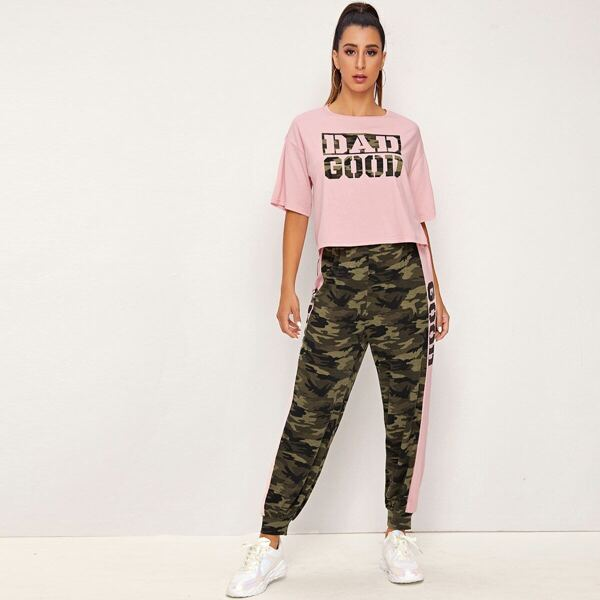 Drop Shoulder Camo Letter Print Top & Pants Set, Multicolor