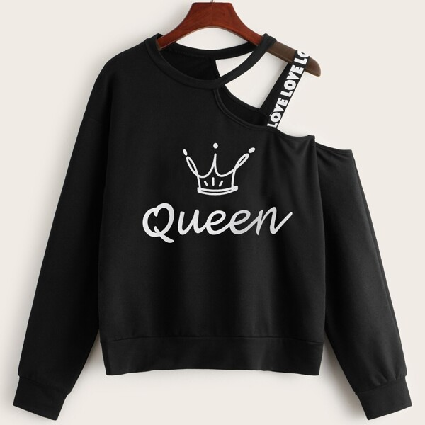 Crown & Letter Print Tape Asymmetrical Neck Sweatshirt, Black