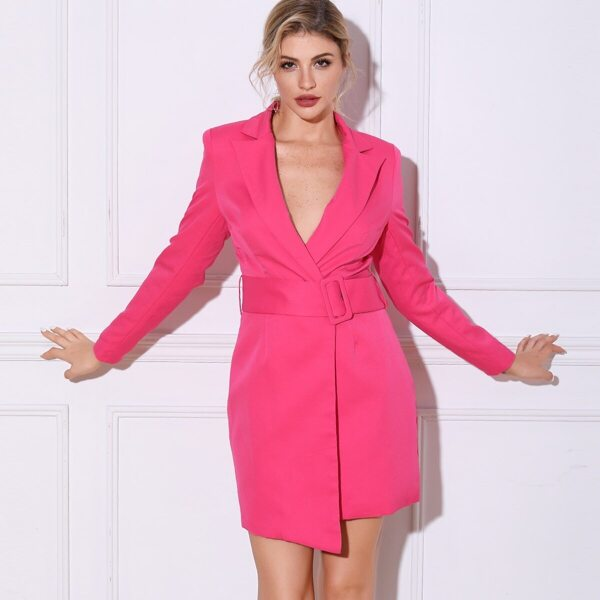 Double Crazy Neon Pink Press Button Belted Blazer, Pink bright