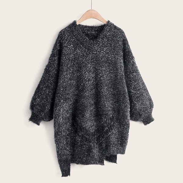 Space Dye Shaggy Asymmetrical Hem Longline Sweater