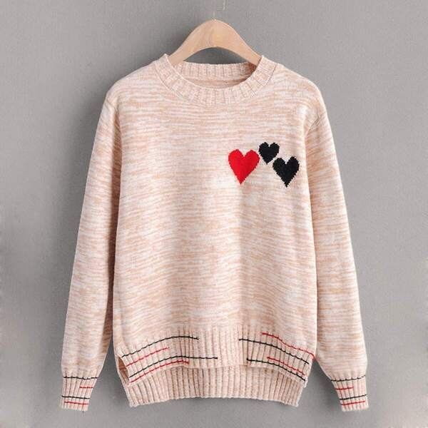 Space Dye Heart Pattern High Low Hem Sweater