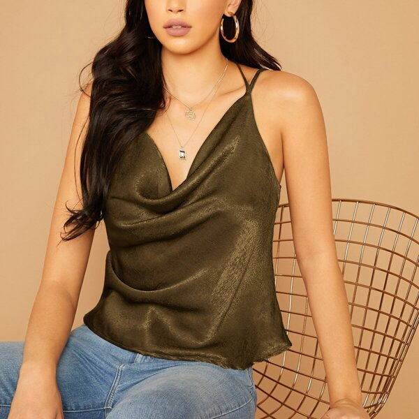 Double Strappy Draped Neck Satin Top, Army green