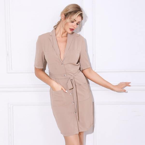 Double Crazy Button Front Belted Blazer Dress, Nude