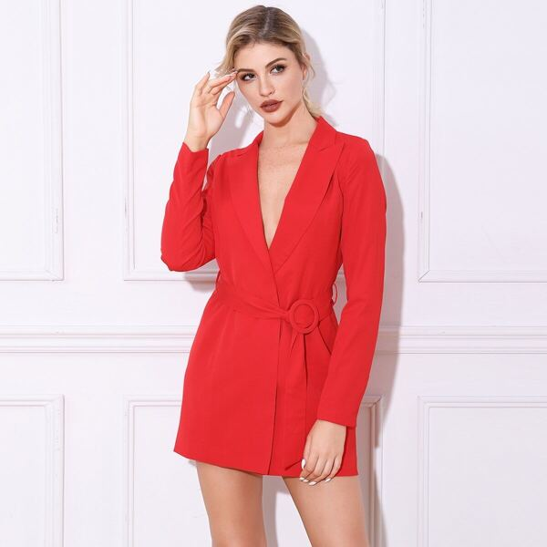 Double Crazy Solid Belted Blazer Dress, Red bright