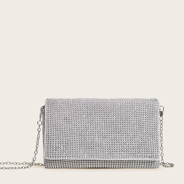 Rhinestone Decor Chain Clutch Bag, Silver
