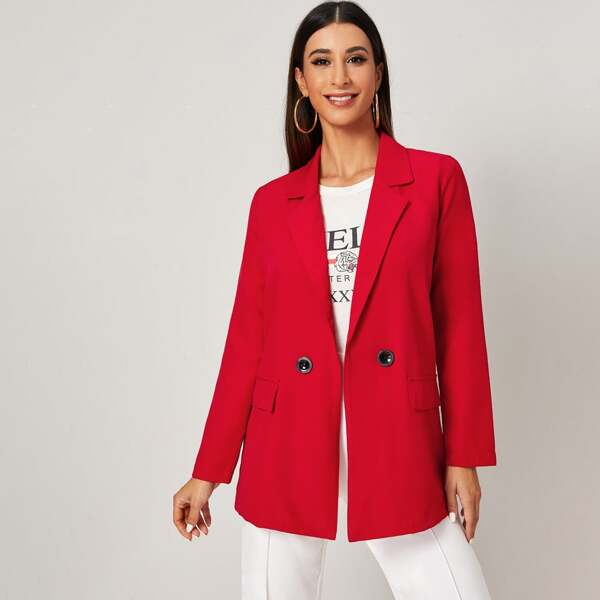 Lapel Neck Button Front Flap Pocket Blazer, Red bright