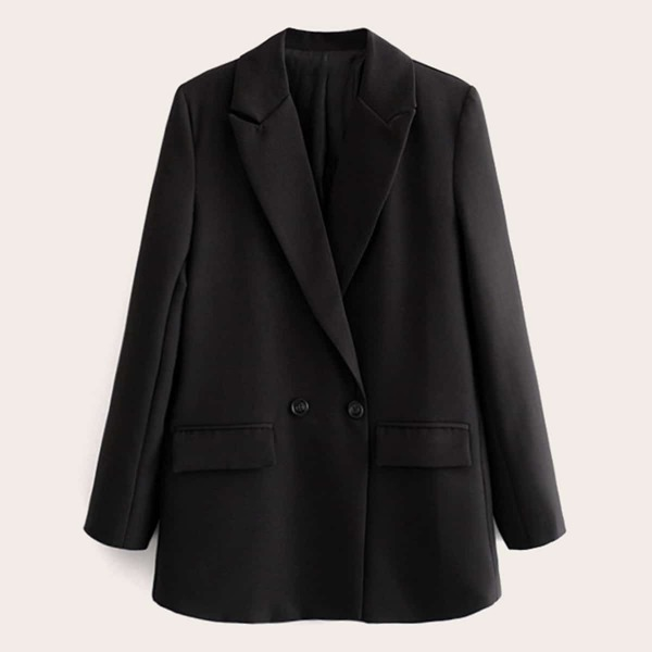 Double Breasted Lapel Neck Blazer, Black