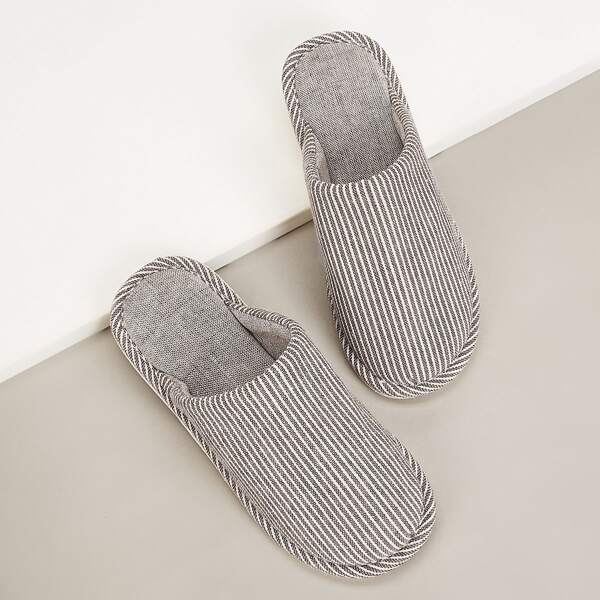 Men Striped Flat Slippers