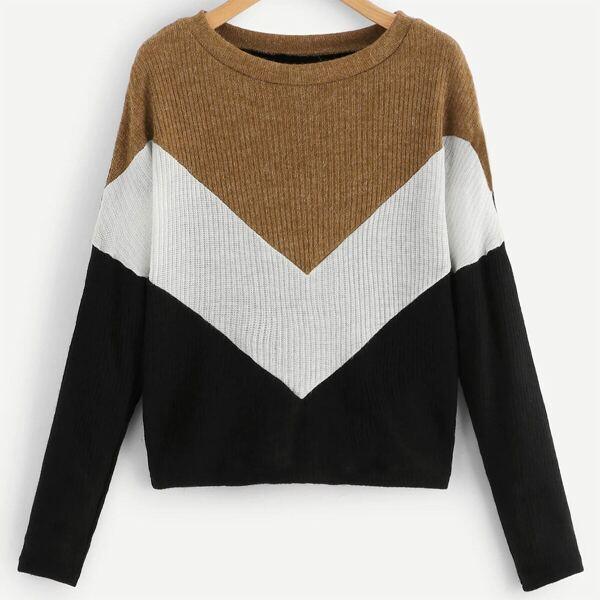 Plus Size Ribbed Knit Colorblock Chevron Print Sweaters, Multicolor